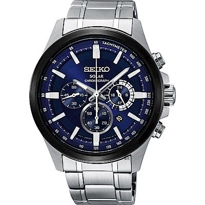 SEIKO精工 Criteria 玩酷太陽能計時碼錶(SSC681P1)-藍/42mm