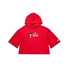 FILA KIDS #肆意極線 女童7分袖連帽T恤-紅 5TET-8423-RD