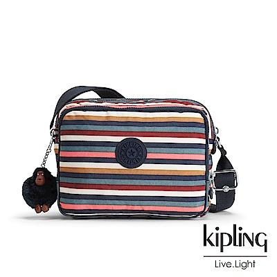 Kipling繽紛仲夏條紋雙層袋側背包