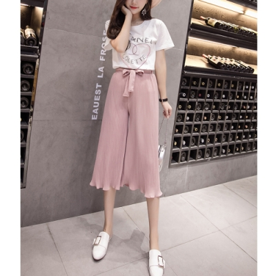 2F韓衣-簡約高腰修身波浪下擺造型寬褲-4色-(S-XL)