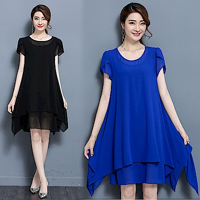 【韓國K.W.】韓妞必備下擺層次洋裝-2色