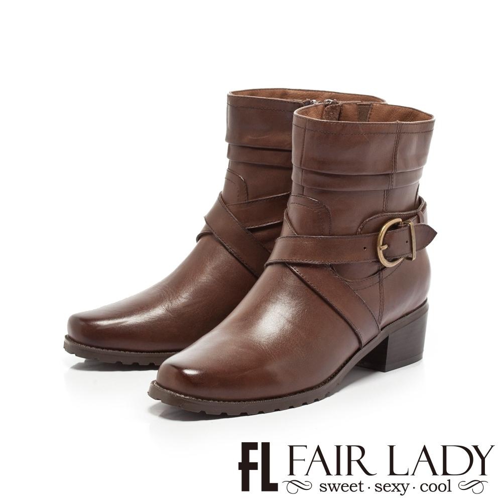 【FAIR LADY】交叉皮革繞帶低跟中筒短靴 咖