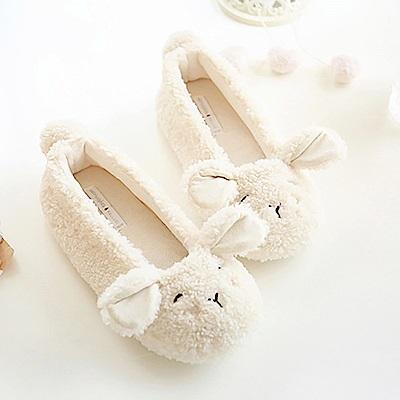 BUNNY LIFE 可愛眯眼羊羔絨保暖包跟居家鞋