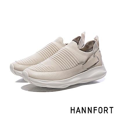 HANNFORT BUBBLES立體編織橫紋跑鞋-女-奶茶米