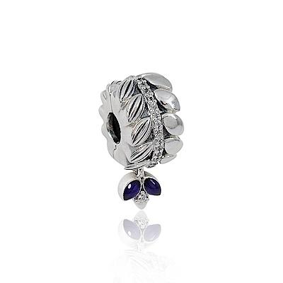 Pandora 潘朵拉 紫色琺瑯能量種子鑲鋯 夾扣式垂墜純銀墜飾