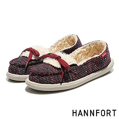 HANNFORT COZY毛呢珊瑚絨樂福鞋-女-珊瑚紅