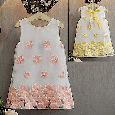 小衣衫童裝  輕甜味花花歐根紗背心裙1050426