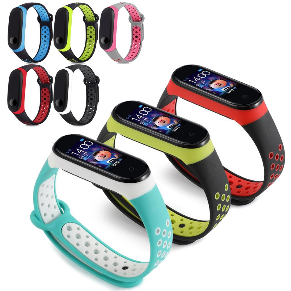 小米手環3/4 撞色網洞雙色腕帶 替換帶 液態硅膠 錶帶 運動智能錶帶 防水防丟