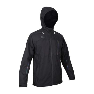 KAPPA 男防水貼條外套-連帽外套 炫彩反光 防潑水 防風 風衣 刷毛 35141RW-005 黑綠藍紫