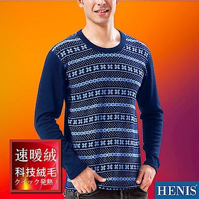 HENIS 速暖絨彈性印花長袖衫_藍底雪花點點