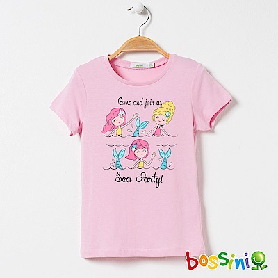 bossini女童-印花短袖T恤18茄紅