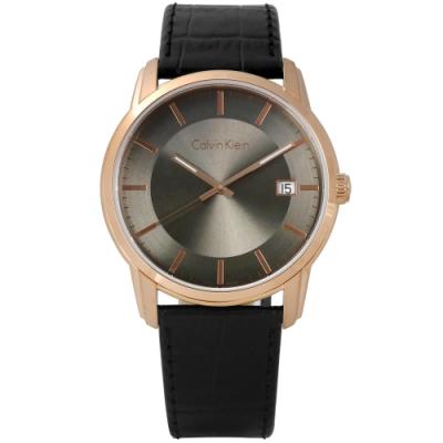 CK 典藏品味日期皮革手錶-灰x玫瑰金框x黑/41mm