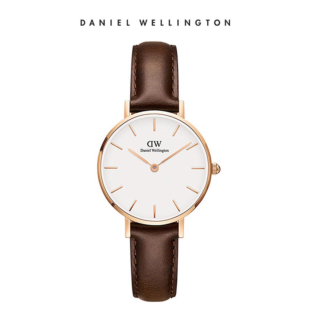 DW 手錶 官方旗艦店 28mm玫瑰金框 Petite 深棕真皮皮革錶