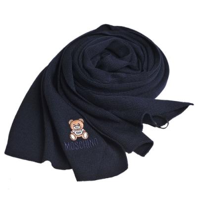 MOSCHINO 義大利製羊毛小熊TOY圖騰字母LOGO刺繡素面針織圍巾(深藍色)