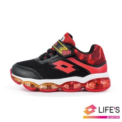 LOTTO 義大利 童 閃電行者 全氣墊跑鞋 (黑紅)