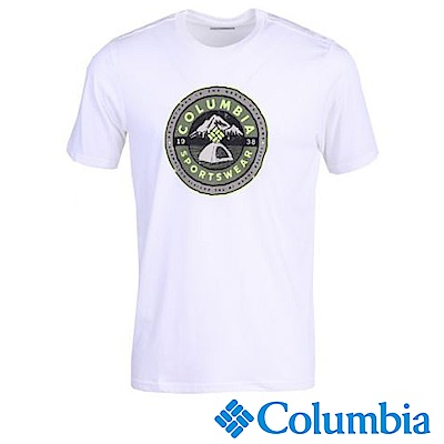 Columbia 哥倫比亞 男款-LOGO短袖上衣-白色 UJO00150WT
