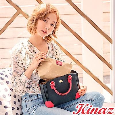KINAZ 迷人風采兩用斜背包-蔻丹桃紅-模特兒系列