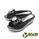 W&M (女) 魚口鑽花楔型厚底彈力涼拖鞋 女鞋 -黑(另有古銅色) product thumbnail 1