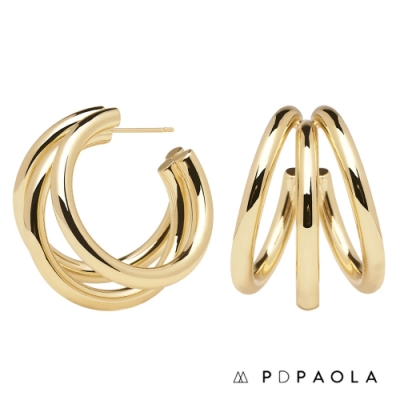 PD PAOLA 西班牙輕奢時尚品牌 True Gold 層次圓圈鍍18K金耳環