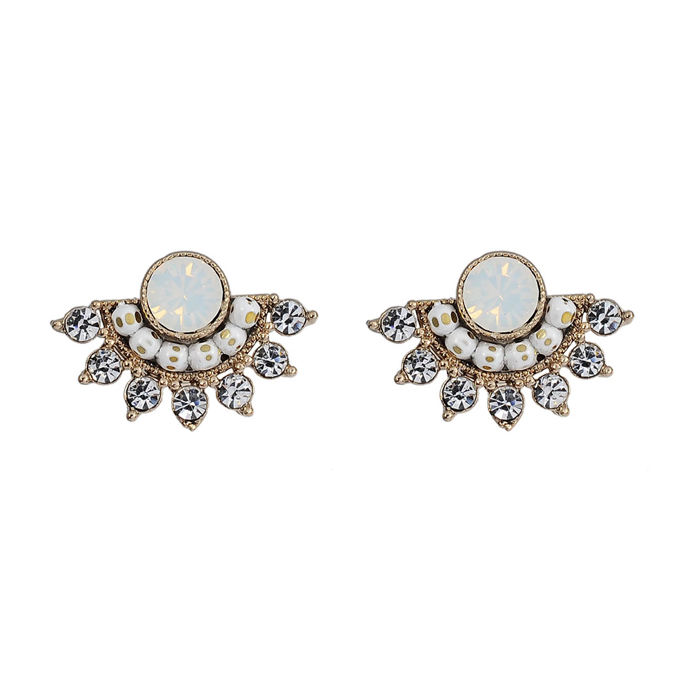 LOVERS TEMPO加拿大品牌 蛋白石扇形 施華洛世奇水晶 耳環