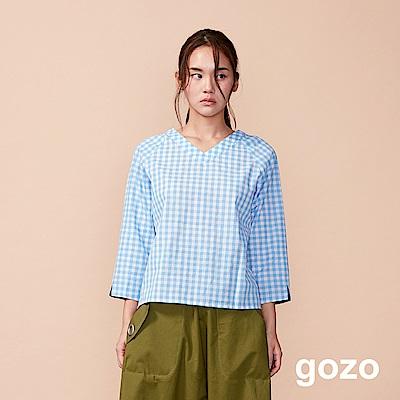 gozo 清新小方格棉質七分袖上衣(二色)