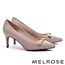 高跟鞋 MELROSE 經典 Logo 蝴蝶結素面牛皮尖頭高跟鞋-米