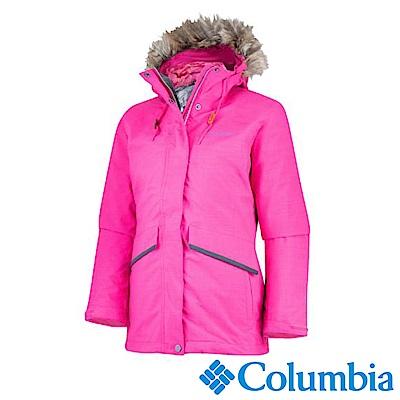 Columbia哥倫比亞 女款-Omni-HEAT鋁點保暖防水兩件式羽絨外套-桃紅