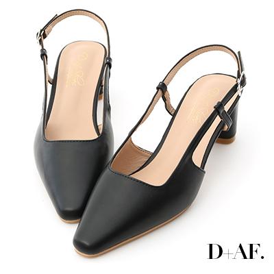 D+AF 魅力典雅.尖頭細帶後空中跟鞋*黑