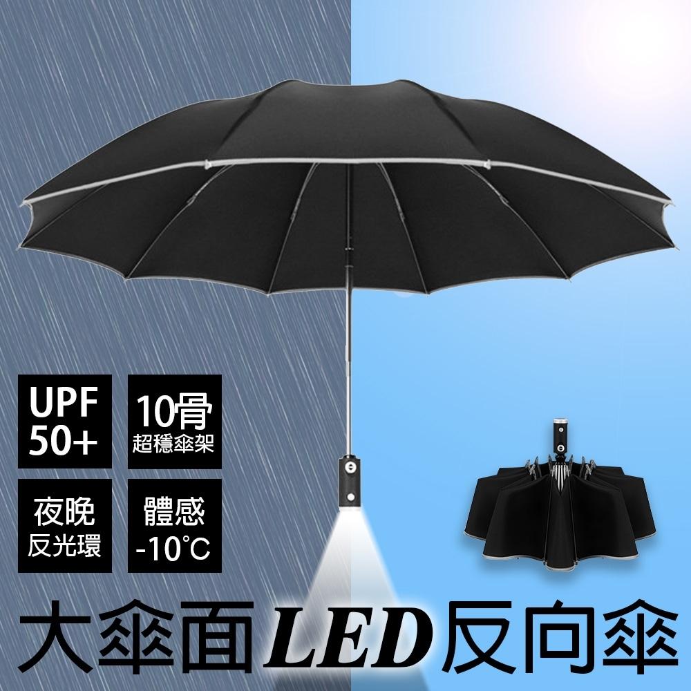 【KISSDIAMOND】10骨LED大傘面自動開收反向傘自動傘(自動折傘/安全照明/抗強風/防斷裂/KD-065)