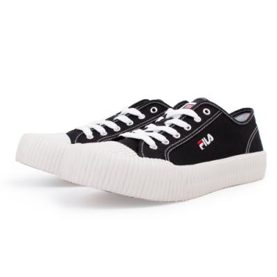 【FILA】BISCUITC 帆布鞋 餅乾鞋 男女款 情侶鞋-黑(4-C910T-011)