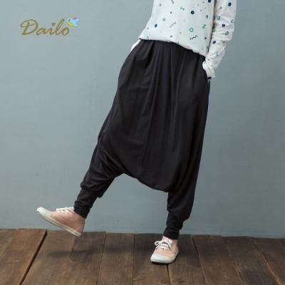 【Dailo】棉質彈力低檔休閒褲(深藍色)