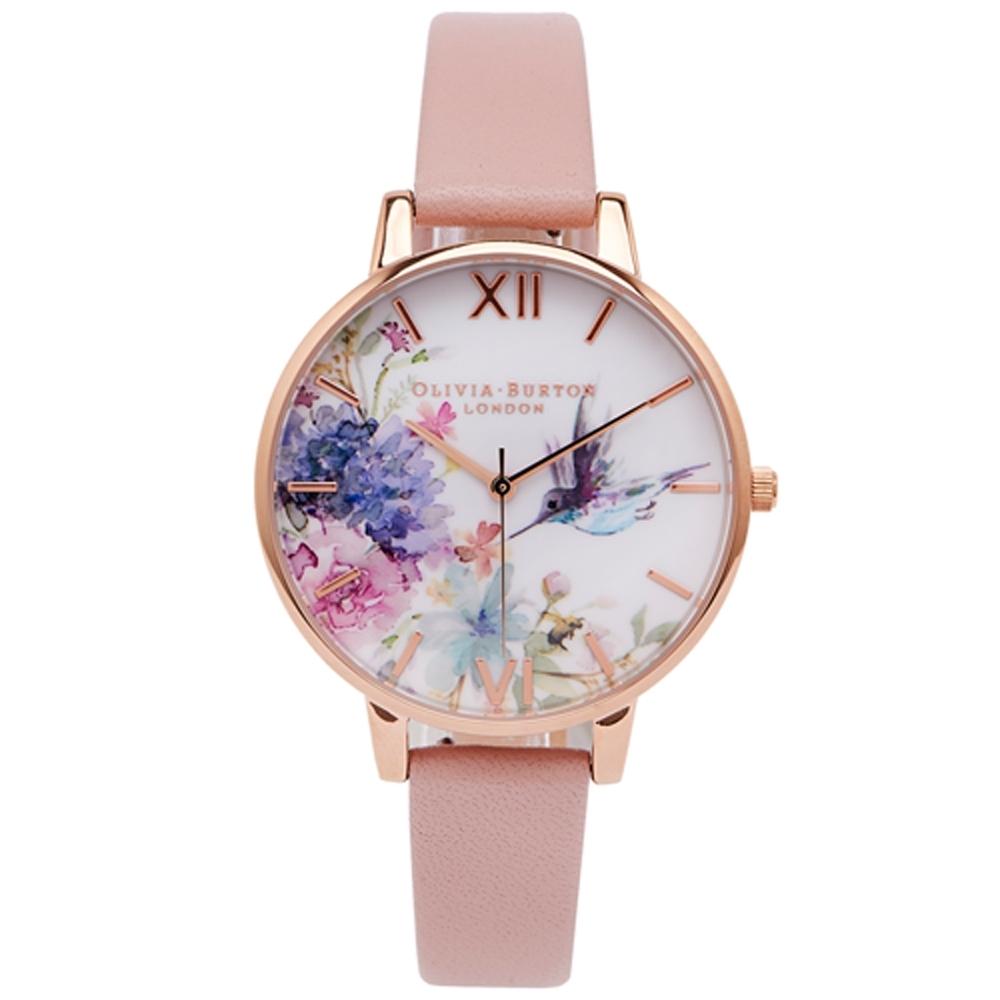 Olivia Burton 鳥戲花語款皮革錶帶手錶(OB16PP44)-白面/38mm