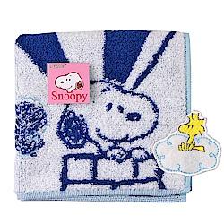 SNOOPY史努比 熱氣球圖案 小方巾(粉藍)