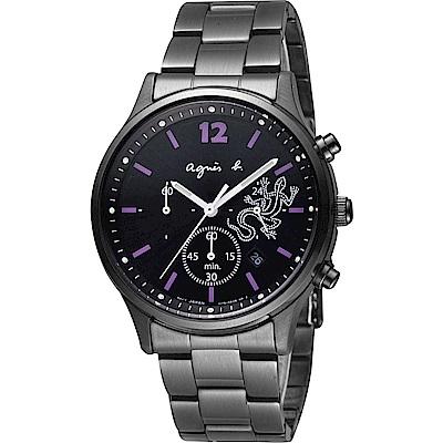 agnes b 巴黎城市戀人三眼計時腕錶-黑x紫時標/39mm (BU8013P1)