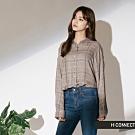 H:CONNECT 韓國品牌 女裝-簡單配色格子襯衫-卡其