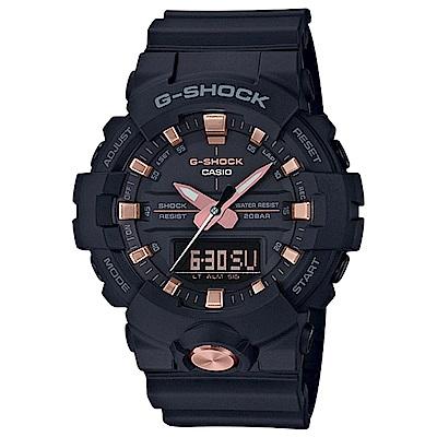 G-SHOCK 玫瑰金色雙顯耐衝擊運動錶(GA-810B-1A4)-黑金/48.6mm