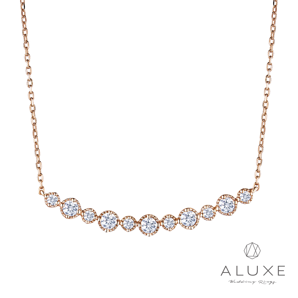 A-LUXE 亞立詩 Love Imprint 18K金鑽石項鍊
