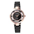 Roven Dino羅梵迪諾  透視時尚鏤空腕錶-黑X玫瑰金(RD6081B-318)