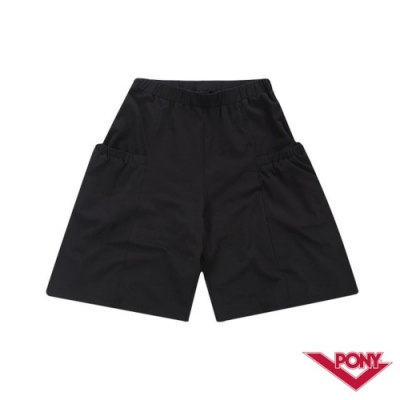 【PONY】運動風格舒適棉質寬褲-女-黑