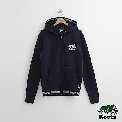 Roots-男裝-刺繡海狸連帽上衣-藍