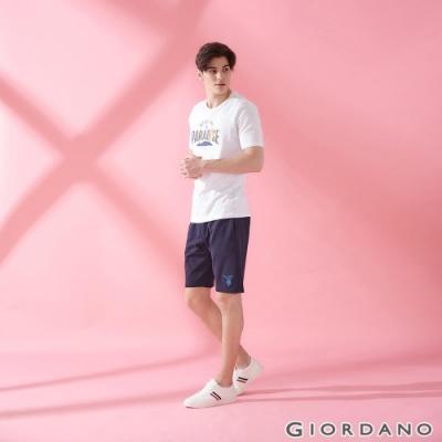 GIORDANO 男裝麋鹿刺繡針織短褲-03 標誌海軍藍