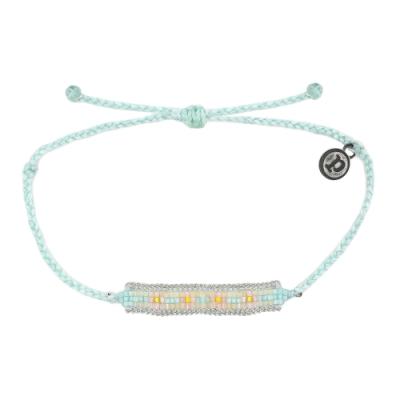 Pura Vida 美國手工 淺藍綠色系圖騰小彩珠系寬版編織手鍊