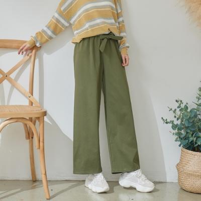 慢 生活 腰身鬆緊繫帶寬褲- 綠/杏