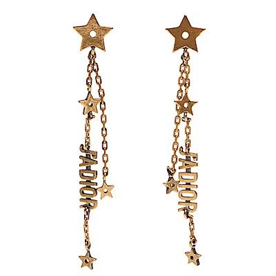 DIOR 經典J Adior系列復古金屬五角星垂墜造型穿式耳環(金)