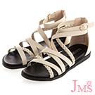 JMS-交叉編織環裸平底羅馬涼鞋-杏色