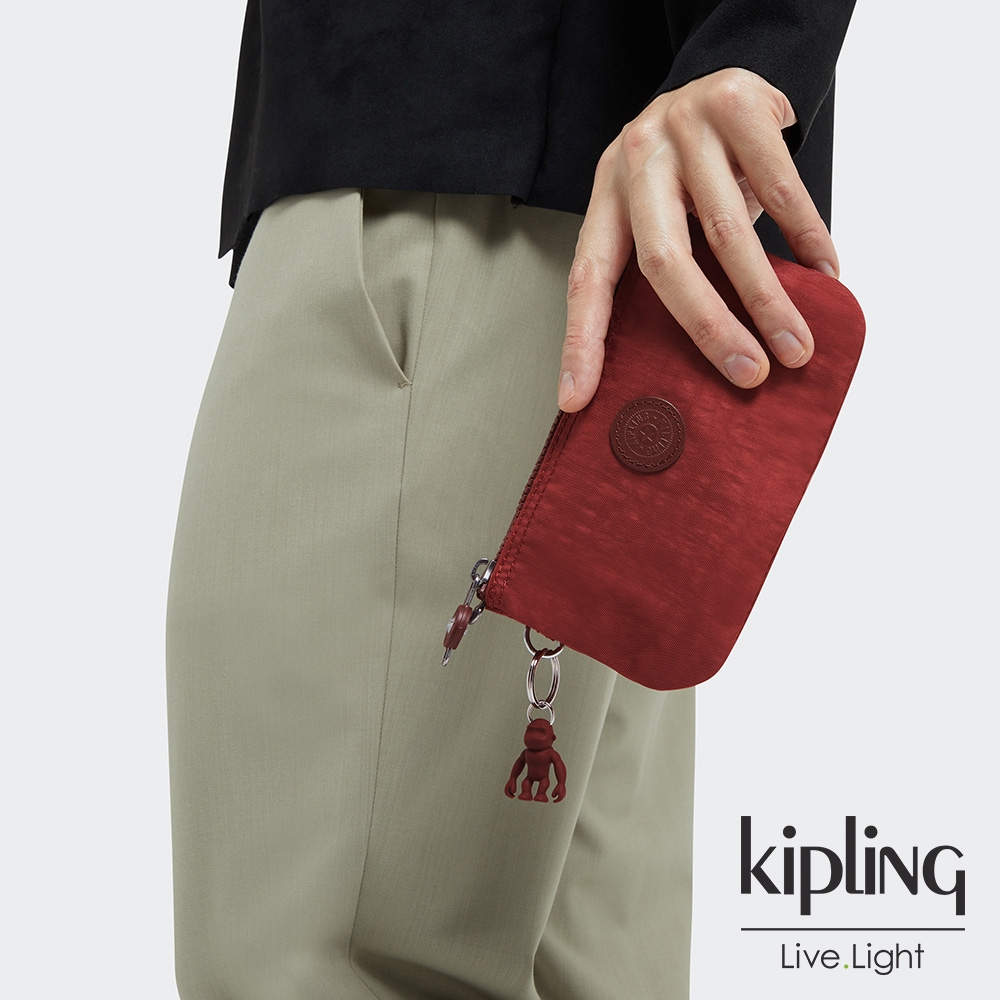 Kipling 微醺感胭脂紅三夾層配件包-CREATIVITY L