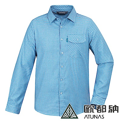 【ATUNAS 歐都納】男款中空纖維保暖長袖格子襯衫A-S1811M淺藍格