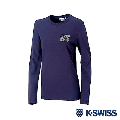 K-SWISS Long Sleeve T-Shirts 印花長袖T恤-女-藍