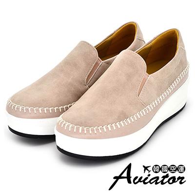 Aviator*韓國空運-正韓簡約皮革縫線厚底懶人鞋-粉