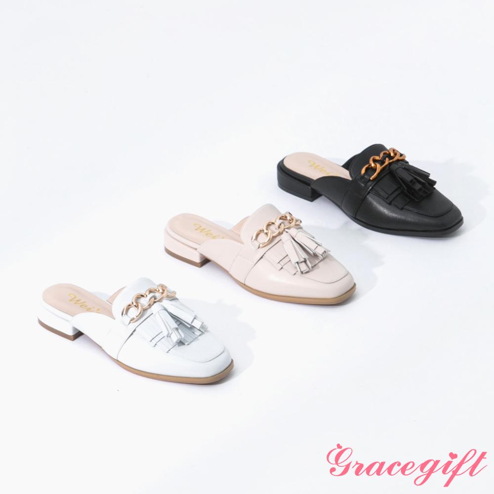 [5/20開賣]Grace gift X Wei-聯名金屬鍊條流蘇穆勒鞋(3色任選)